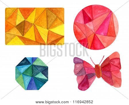 Set Of Polygonal Watercolor Design Elements: Card, Circle, Octagon, Butterfly