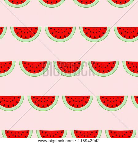 Colorful seamless pattern of watermelon slices. Vector illustration of summer sliced melon fruits. E