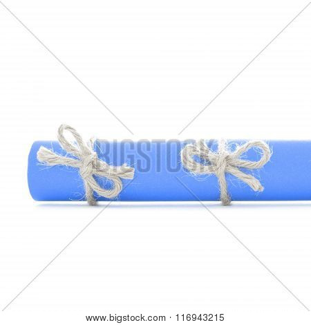 Natural Handmade Rope Bows Tied On Blue Message Roll Isolated