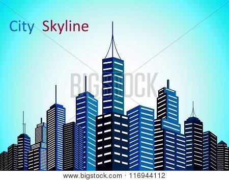 City downtown skyscrapers