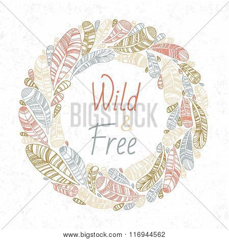 Vector Feather Logo Illustration, Colorful Feather, Feather logo wreath