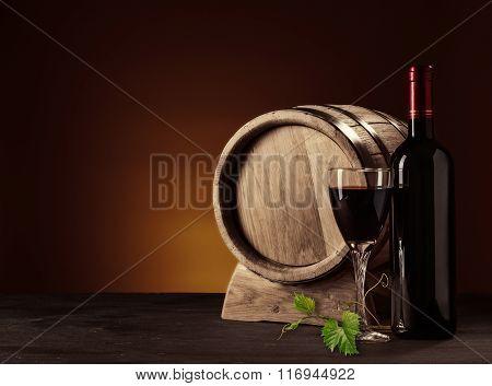 Bottle, Glass And Oak Barrel