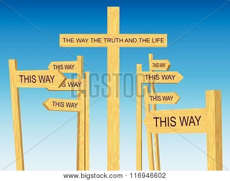 Way, Truth and Life Sign Among Road Signs