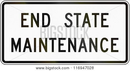 Road Sign Used In The Us State Of Virginia - End State Maintenance