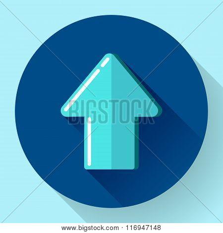 Illustration of blue Flat Download Upload Icon