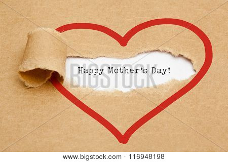 Happy Mothers Day Torn Paper Concept