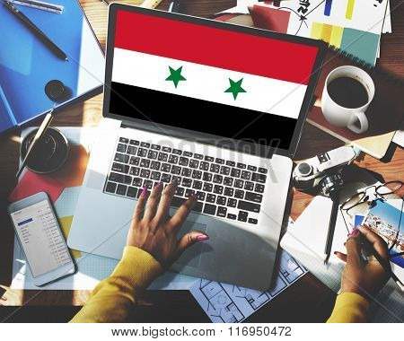 Syria National Flag Business Communication Connection Concept
