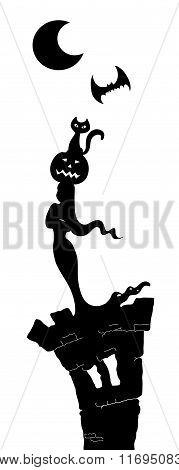 Halloween sihouette in the moonlight