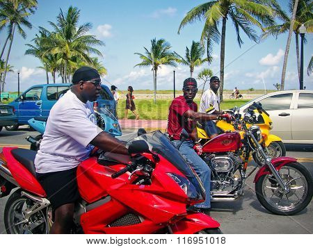 Black Men On A Motorcycle