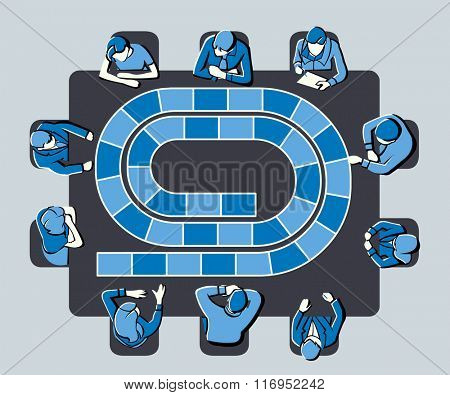 Blue meeting table with business people around a board game path.
