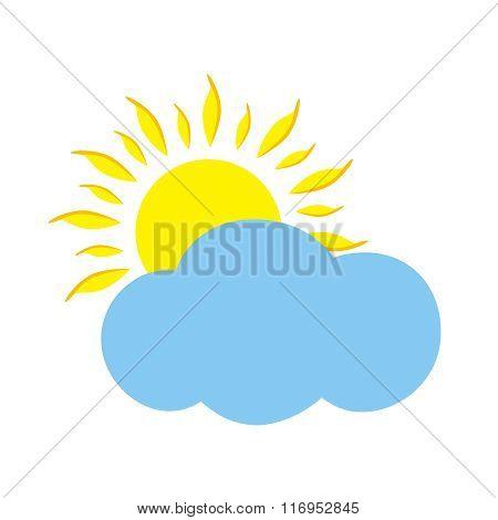 Flat Icon Sun And Cloud