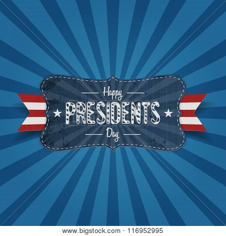 Vintage Banner with Happy Presidents Day Text