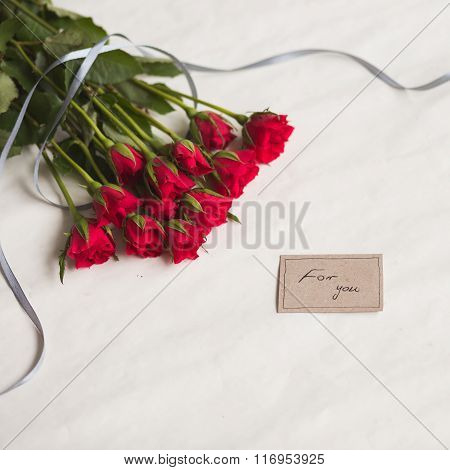 Love Card And Roses