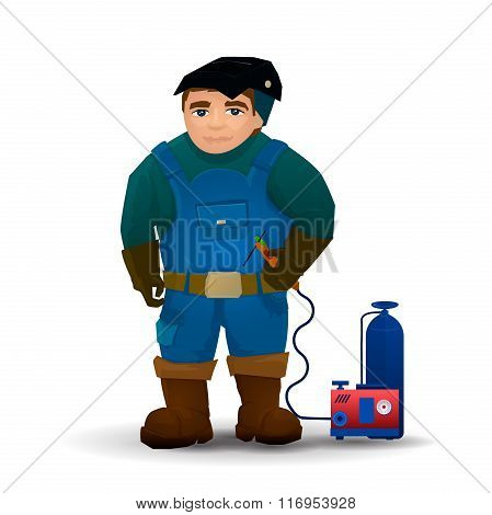 Welders in vector. Isolated man with welding machine on white