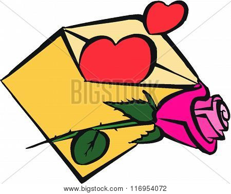 Happy valentines day. The letter of true love with red hearts, flower, rose, writing declaration of love, love confession, romantic message, touching letter, beautiful writing, romance, true love, happy love.