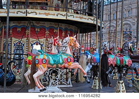 Festively Decorated Roundabout Carousel In Moscow