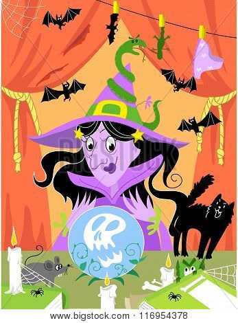 Witch: halloween illustration.