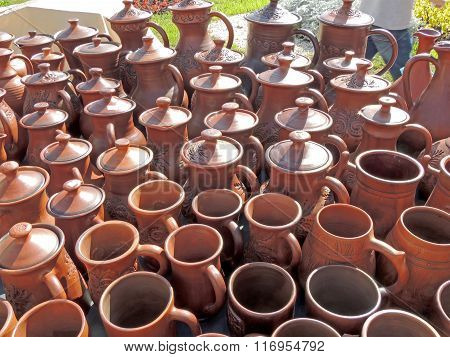 Ceramic Earthenware Pots And Mugs