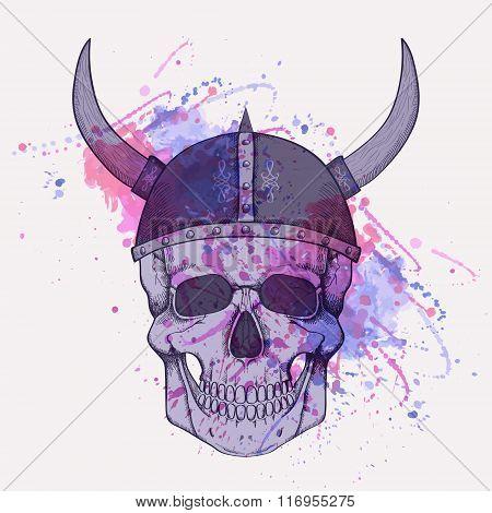 Vector Illustration With Watercolor Splash And Human Skull Wearing Viking Helmet