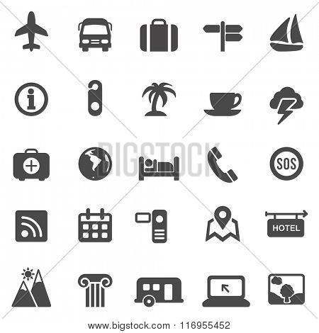 Travel black icons set.Vector