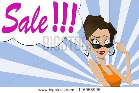 Pop Art Woman Sale Sign.