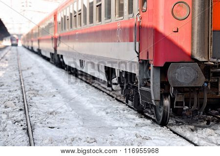 Train In Station In A Winter Day