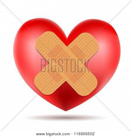 Heart Symbol With Adhesive Bandage