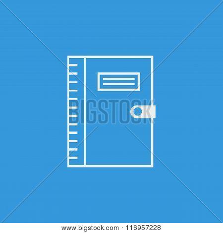 Notebook Icon, On Blue Background, White Outline, Large Size Symbol
