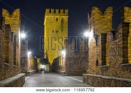 Nightview Of Castelvecchio Bridge In Verona