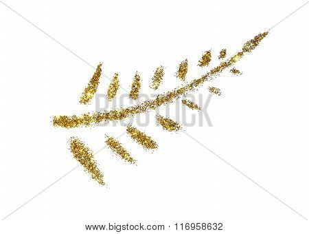 Abstract Palm branch of golden glitter sparkle on white background