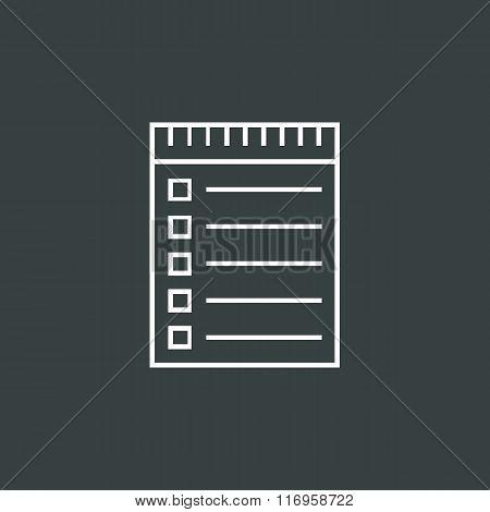 Notebook Icon, On Dark Background, White Outline, Large Size Symbol