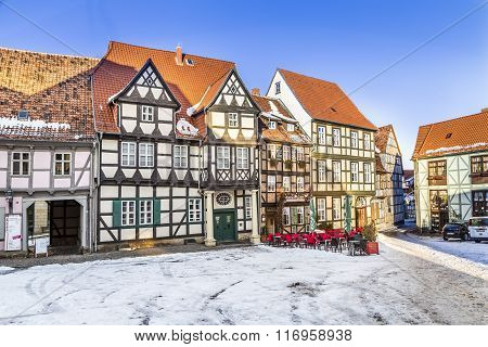 Scenic Old Half Timbered Houses In Quedlinburg