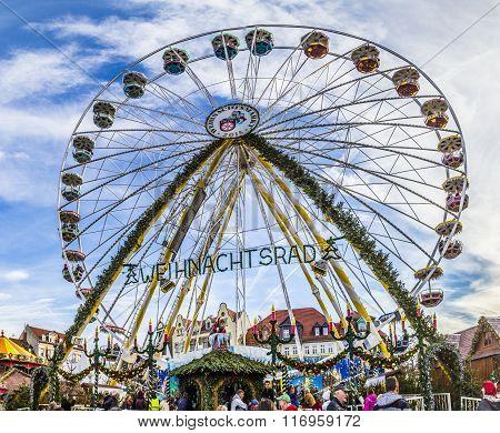 People Visit Big Wheel At Christkindl Market In Erfurt