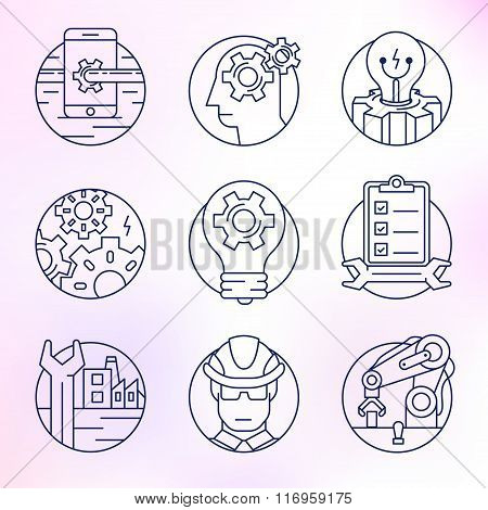 Set of vector icons in modern linear style.