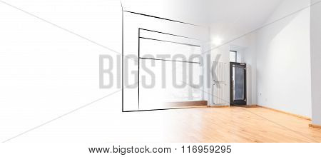 Interior Design Concept , Shop Sketch And Photo