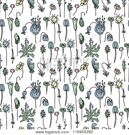 Seamless pattern with floral seeds. Endless texture for your design, announcements, postcards, posters.