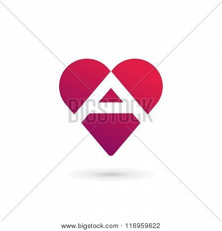 Letter A Heart Logo Icon Design Template Elements