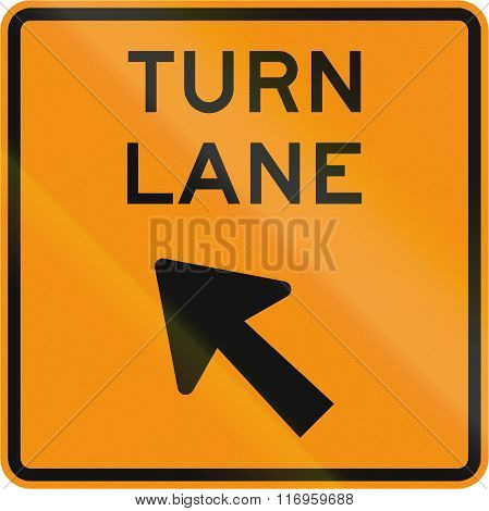 Road Sign Used In The Us State Of Virginia - Turn Lane