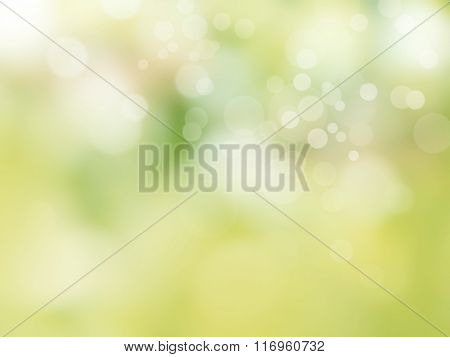 Soft green spring background with bokeh lights