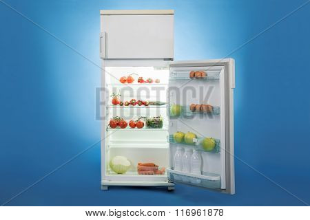 Open Refrigerator Full Of Healthy Food