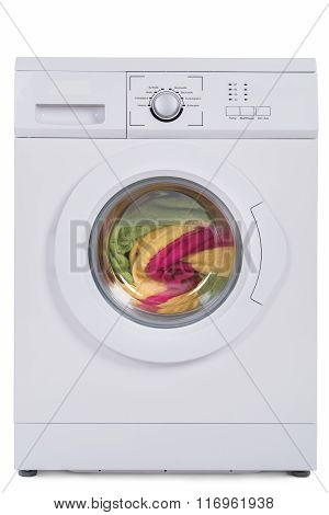 Washing Machine Full Of Dirty Clothes