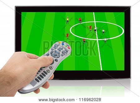 Hand Using Remote Control Of Watch Soccer Match On Television