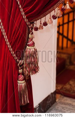 Beautiful Decorated Red Curtains With Tassels