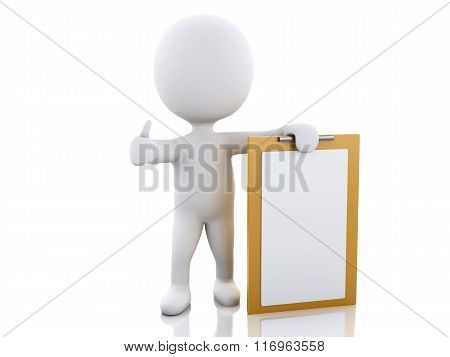 3D White People With Blank Clipboard.