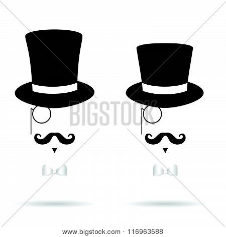 Hat Cylinder Illustration With Mustache Silhouette