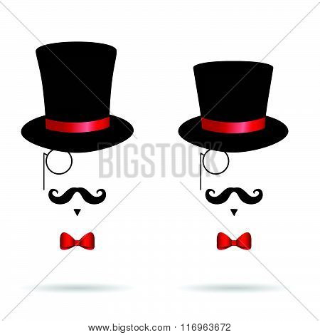 Hat Cylinder Illustration With Mustache