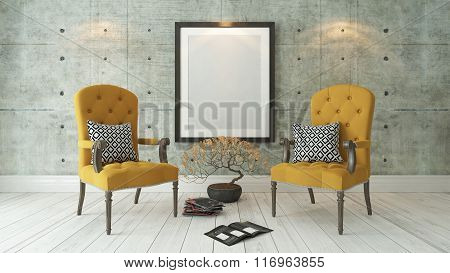 Black Picture Frames With Double Yellow Bergere And Concrete Wall Background, Template Design