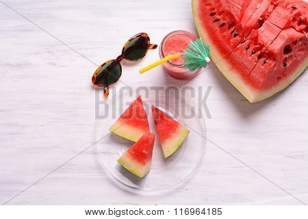 Top View Of Watermelon Drink On Wooden Table