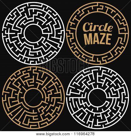 Circle Maze Vector Set