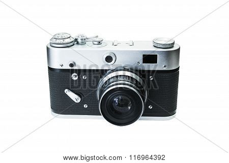 Retro digital photo camera isolated on white